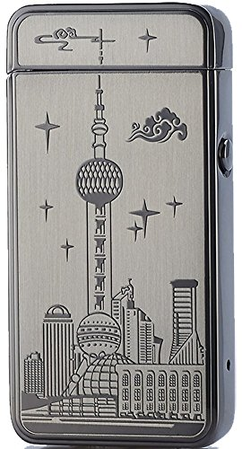 Price comparison product image [Best Electric Lighter] CJOY Electronic Arc Lighters USB Rechargeable Flameless - Oriental Pearl Landmark Shanghai China Souvenirs - Christmas Anniversary Gifts (Black)