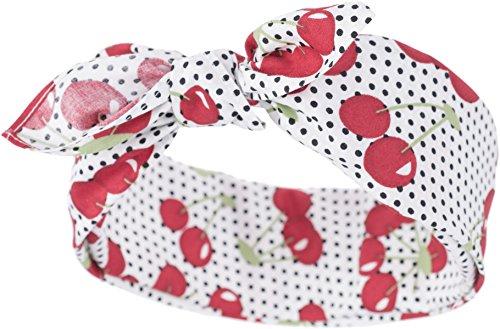 Küstenluder Damen Haarband Caren Punkte Kirschen Bandana Schwarz 53cm x 53cm (Kleid Kirsche Roten)