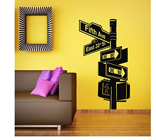 jqpwan Wand Vinyl Aufkleber Raumapplikation Wandbild Design New York Road Wohnzimmer Broadway 57 * 79cm