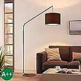 Lampadaire 'Viskan' (Jeunes, étudiants) en Noir en Textile e. a. pour Salon & Salle à manger (1 lampe,à E27, A++) de Lampenwelt | Lampadaire arqué, lampadaire arc, lampe sur pied, lampe de salon sur