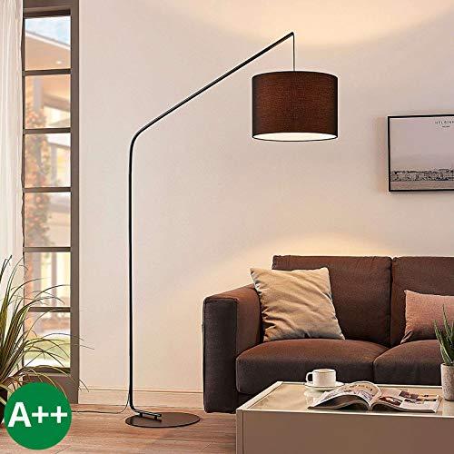 Lindby Stehlampe (Bogenleuchte) \'Viskan\' (Für Kinder, Junges Wohnen) in Schwarz aus Textil u.a. für Wohnzimmer & Esszimmer (1 flammig, E27, A++) - Bogenlampe, Stehleuchte, Floor Lamp, Standleuchte