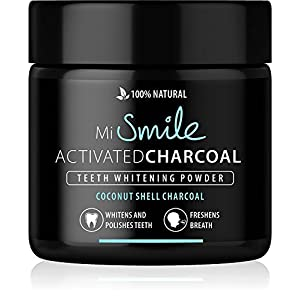 MiSmile Premium Aktivkohle – Coconut – 100% Natürlich | Weiße Zähne | Vegan | Activated Charcoal | Teeth Whitening Powder