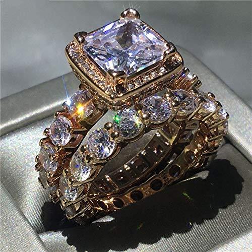 ZHOUYF RING Verlobungsringe Vintage Ring 5A Zirkon Cz Rose Gold Gefüllt 925 Silber Engagement Hochzeit Band Ringe Set Für Frauen Brautschmuck, A, 6# - Cz-verlobungsringe Stil Vintage