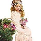 Prinzessin Spitzenkleid für Mädchen Champagner Hochzeit Blumen Kleid Partykleid mit großen Bogen