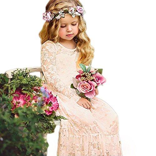 CQDY Prinzessin Spitzenkleid für Mädchen Champagner Hochzeit Blumen Kleid Partykleid mit großen...