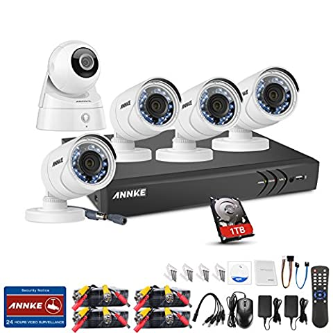 ANNKE WIFI IP Camera 8CH 1080P HD-TVI CCTV DVR w/ 1TB Surveillance HDD and 4x 2.0MP Security Camera System, Network Wireless Baby Monitor, H.264+ Compression, Smart Playback