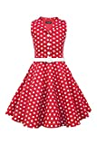 BlackButterfly Kinder 'Holly' Vintage Polka-Dots Kleid im 50er-J-Stil (Rot, 11-12 J / 146-152)