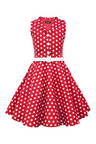 BlackButterfly Kinder 'Holly' Vintage Polka-Dots Kleid im 50er-J-Stil (Rot, 9-10 J / 134-140)