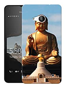 """Humor Gang Buddha Statue - Buddhist God Printed Designer Mobile Back Cover For """"Nokia Lumia 550"""" (3D, Matte Finish, Premium Quality, Protective Snap On Slim Hard Phone Case, Multi Color)"""