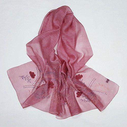 TIANLU Silk Wool Scarf Silk Wool Scarf Solid Color Lace Flowers Decorated In Warm Sepia Ethnic Silk Scarf Female