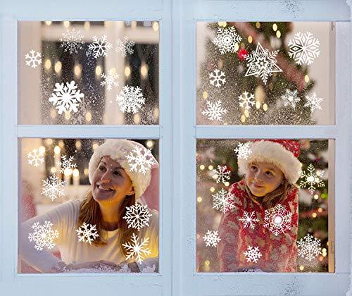 fensterbilder schneeflocken Yuson Girl 104 Stk Schneeflocken Fensterbild Abnehmbare Weihnachten Aufkleber Fenster Weihnachten Deko Wandtattoo Weihnachten Statisch Haftende PVC Aufkleber