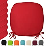 Beautissu® Seat Pads Lara - 6 Set Padded Garden Chair Cushion 37 x 37 x 1.5 cm Basic Kitchen Chair Cushion Red