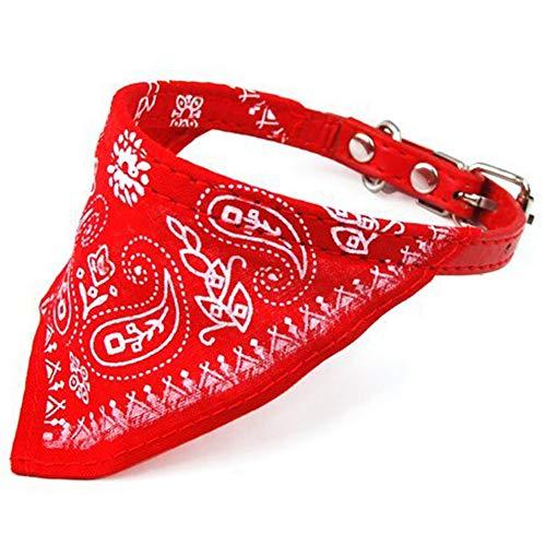 SungpunetPet Kopftuch verstellbar Hund Katze Dreieckstuch Haustier Schal Halsband Hund Katze Rot