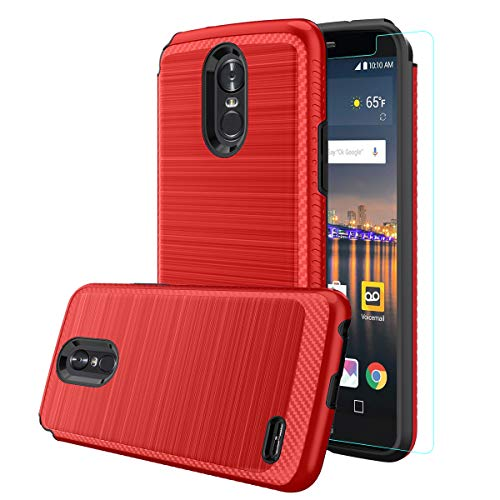 LG Stylo 3 Hülle, LG Stylo 3 Plus, LG Stylus 3, LG LS777 Schutzhülle mit HD-Displayschutzfolie, doppellagige Hybrid-stoßfeste Metallic-Pinsel-Textur, Hartschale für LG Stylo 3, rot -