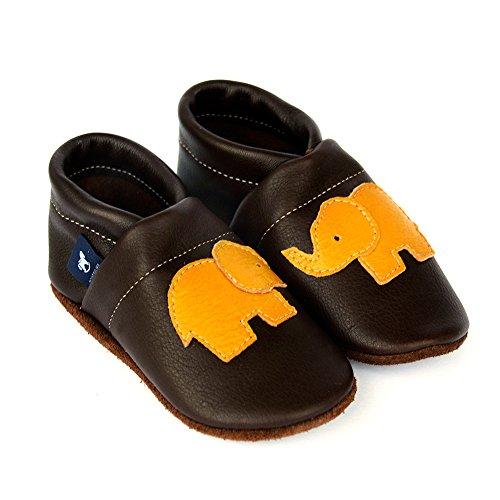 pantau.eu Leder Krabbelschuhe Lederpuschen Babyschuhe Lauflernschuhe mit Elefant DUNKELBRAUN_GELB