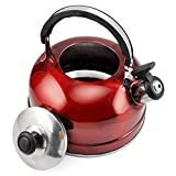 Veroda Camping Narrow Boat Whistling Kettle Home Hob Gas Electric Induction 2.5L Color Red by Veroda