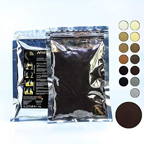Hair Quicky® Premium Hair Fibers, Schütthaar, Soforteffekt bei Geheimratsecken, Teilglatze, Haarausfall und lichtem Haar, für Männer & Frauen, natürliches Keratin | 100g | dunkelbraun