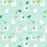 Lama Türkis 100% Baumwolle Baumwollstoff Kinderstoff Meterware Handwerken Nähen Stoff Tiermotiv 100x160cm 1 Meter (Lama)