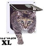 Pujuas Cat Flap Dog Flap mat 4 Way Magnéitesch Verschluss, Pet Flap fir Kaze a Kleng Hënn, Cat Door mat Tunnel (XL 25 * 27cm, Wäiss)
