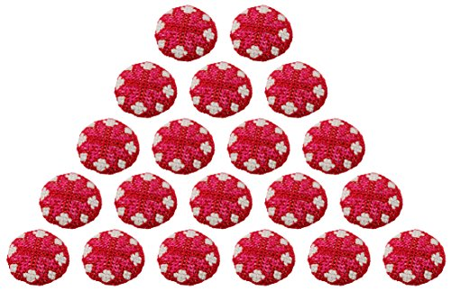 Fabric and Lace Buttons Cross stitching Design With Color Tread Work Buttons