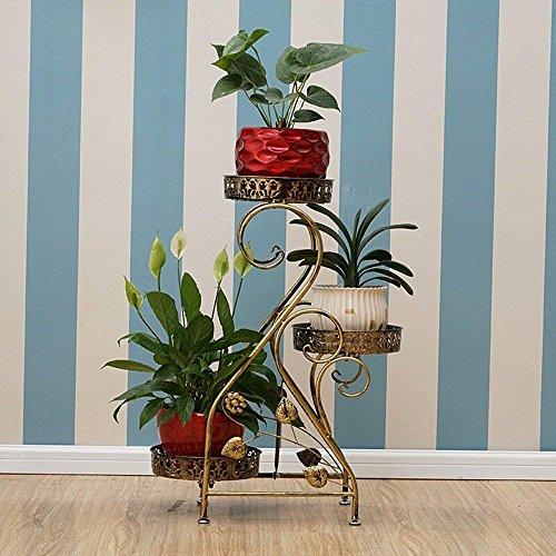 DEED Pflanzenregal-Europäischen Stil Eisen Blume Rack Multi-Storey Indoor Balkon Bodentöpfe Kreative Mehrzweck-Blume Regal Wohnzimmer Balkon,Kupfer 2,Kein Rad