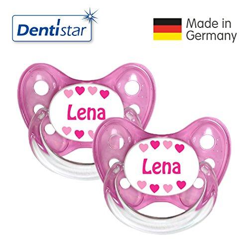 Preisvergleich Produktbild Dentistar® 2er Set Silikon-Schnuller - Größe 1 von Geburt an, 0-6 Monate - Nuckel zahnfreundlich & weich für neugeborene Babys, Rosa Lena