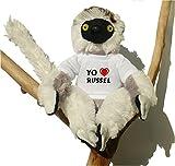 Sifaca (lémur) de peluche con Amo Russel en la camiseta (nombre de pila/apellido/apodo)