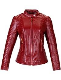 187a383a274a Cuir Blouson Femme Fashion Automne Hiver Grande Taille Veste en Cuir  Synthétique Mince De Haute Qualité