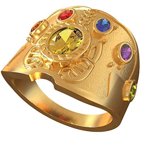 nity Ring mit Kristall Edelstein 20 mm Durchmesser Gold Neuheit Power Ringe Halloween Cosplay Kostüm Schmuck Kollektion Zubehör für Unisex Erwachsene ()
