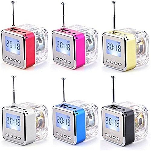 MOKE Disco Radio mini altoparlante portatile LCD Display USB di musica MP3 / 4 Player micro SD USB TF FM (rosa) nero