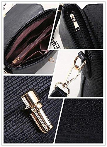 LDMB Damen-handtaschen Koreanische Stereotypen süße PU Leder Frauen Umhängetasche Messenger Black