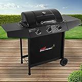 broil-master BBQ Gasgrill | Edelstahl Deckel, Grillstation mit 3 Brenner | Grillfläche 61 x 35 cm | Farbe: Schwarz