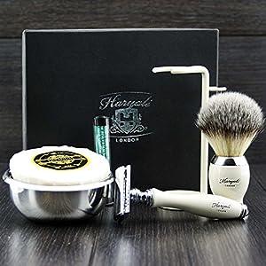Premium Rasierzeug Geschenk für Männer (Rasierhobel, Pinsel, Schüssel, Stand) Marken-Box (keine Klingen enthalten)