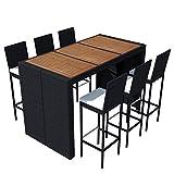 vidaXL Gartenbar Set 13-tlg. Poly Rattan Akazienholz Tischplatte Gartenmöbel