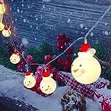 Lichterkette im Schneemann-Design, für den Innen- und Außenbereich, LED-Weihnachtsbeleuchtung mit warmweißem Licht