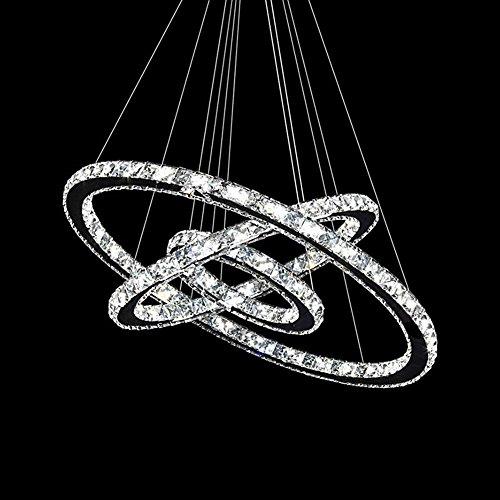SAILUN 72W Blanc Froid Plafonnier LED Dimmable Cristal Design Suspendu Lampe Deux Anneaux Plafond Lampe Pendentif Lampe Creative Chandelier Lustres LED Plafond
