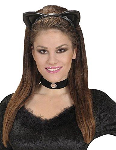 Widmann Catwoman Haarreif für Erwachsene, für Damen, Schwarz, One Size, 2321A