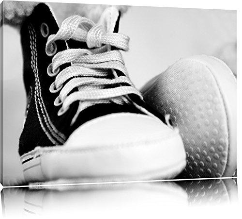 Pixxprint Converse All Stars Schuhe auf Leinwand, XXL riesige Bilder fertig gerahmt mit Keilrahmen,...