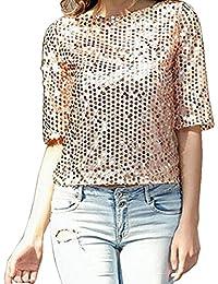 Camisetas Manga 3 4 Mujer Blusa de Verano Fiesta Top de Lentejuelas Brillantes T shirt Túnica Blusas Camisas Tops Clubwear - Landove