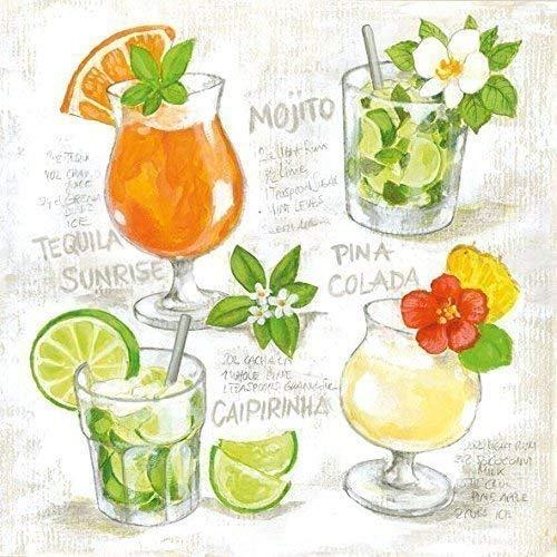 """Clair Cocktails Orange Vert 3 Plis 20 Serviettes Papier 13"""" X 13 \"""