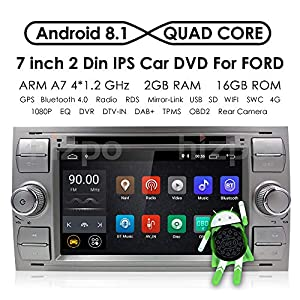 gps navigation: HIZPO Android 8.1 Quad Core Car in Dash Radio Double DIN Stereo Headunit for For...