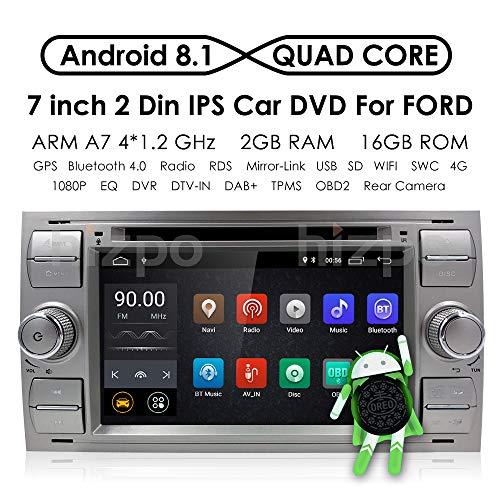 Hizpo Android 8.1 Quad Core de Voiture dans Dash Radio Double DIN Autoradio stéréo pour Ford Focus Mondeo S-Max C-Max Galaxy Support GPS Navigation écran Miroir 4 G WiFi OBD2 Dab + SWC DVD Radio