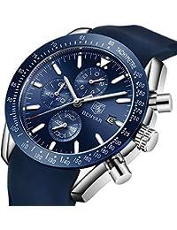 Orologio cronografo per uomo braccialetto in silicone quadrante blu lusso  impermeabile - Orologio da… 39093ca76f