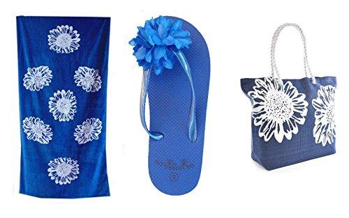 Strandtasche Damen +Strandtuch + Zehentrenner Set Blumenmuster Airee Fairee Blau