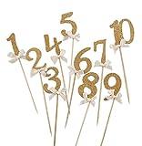 Milopon Cupcake Topper Zahlen Kuchen Toppers Kuchen Torte Dekoration für Geburtstag Party Hochzeit 10 Stück (Gold)
