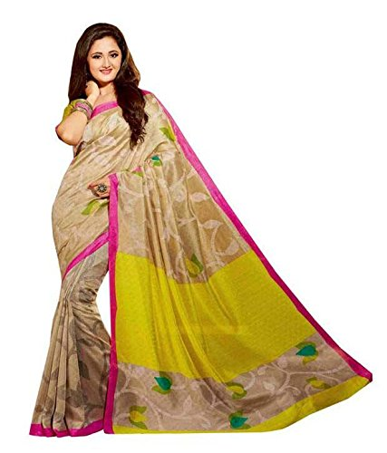 Color Trends Women\'s Printed Bhagalpuri Art Silk Saree And Blouse