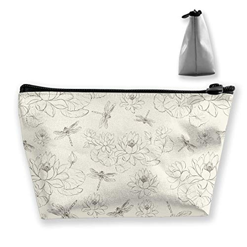 Trapezförmige Aufbewahrungstasche Clutch Lotus Flower Dragonfly Pattern Travel Makeup Bags -