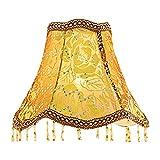 Eastlion Creative Jacquard und Perle 25cm Retro Palace Anhänger Handgefertigte Anhänger UNO Lampenschirm für Tischleuchten, Stehleuchten, Wandleuchten, braun 13x25x20cm