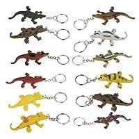 MagiDeal 12pcs Multi-color Crocodile Pendant Keychain Charm Keyring Holder Novelty Gifts