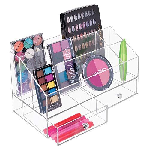 mDesign Kosmetik Organizer – Aufbewahrungsbox mit fünf Fächern und zwei Schubladen für Make-up, Nagellack und Beautyprodukte – die ideale Schminkaufbewahrung – transparent